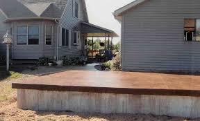 Patio Foundation A Raised Patio Colored Slab And Foundation Forward Concrete Inc