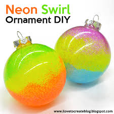 ilovetocreate neon swirl glitter ornaments