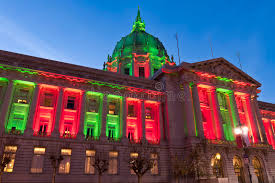 sf city hall lights san francisco city hall in christmas green and red lights stock