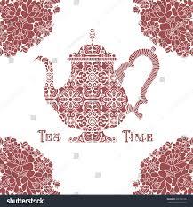 tea time concept ornamental teapot sign stock vector 238108138