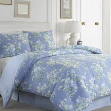 bedroom charming bedding in blue and floral pattern by laura