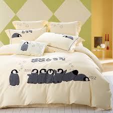 Penguin Comforter Sets 100 Egyptian Cotton Embroidery Penguin Bedding Set 4 Pcs Set