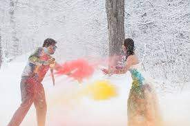 a vibrant trash the dress shoot in the snow bespoke bride