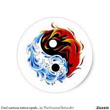 cool cartoon tattoos cool cartoon tattoo symbol water fire yin yang classic round
