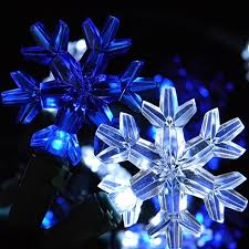 white blue led snowflake string lights battery operated timer