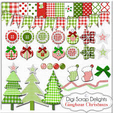 clip gingham green trees ornaments