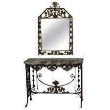 Iron Console Table Marble And Bronzed Cast Iron Console Table With Mirror By Oscar