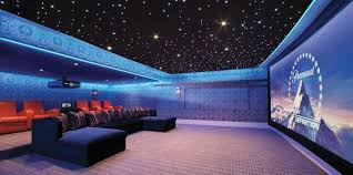 Home Theater With LED Stars Ceiling Lighting And Modern Furniture - Home theater lighting design