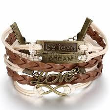 leather bracelet girl images Women fashion vintage leather bracelet infinity love believe dream jpg