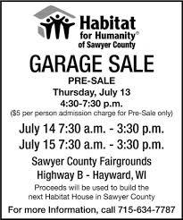 garage sale habitat for humanity of sawyer county hayward wi