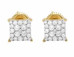 real diamond earrings 10k yellow gold unisex diamond micro pave square kite fashion stud