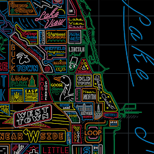 Chicago Cubs Map by Neon Neighborhood Map Of Chicago Chicago Tribune Store