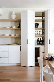 Laminate Wood Flooring Kitchen Cabinets U0026 Storages White Sleek And Clean Kitchen Pantry Design