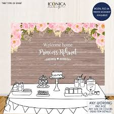 pink floral welcome baby backdrop rustic floral dessert table