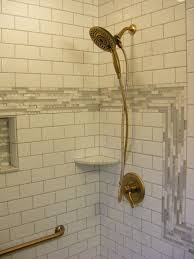 tile shower with delta in2ition shower in champagne bronze finish