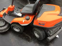 husqvarna r 220t articulated riding lawn mower tools in action
