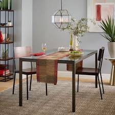 Glass Table Kitchen by Box Frame Dining Table Glass West Elm