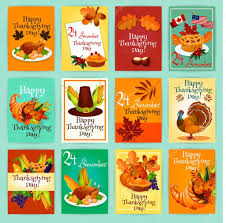 thanksgiving holiday wishes thanksgiving day greeting cards posters set u2014 stock vector