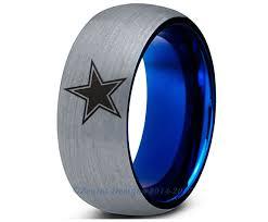 dallas wedding band special sale dallas cowboys blue dome tungsten wedding band ring