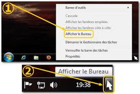 mettre un raccourci sur le bureau windows 7 ajouter le raccourci afficher le bureau dans la barre de