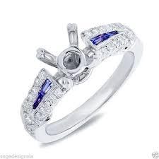semi mount engagement rings white gold baguette blue sapphire semi mount