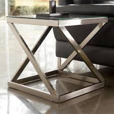 square glass end table signature design by ashley coylin brushed metal square end table