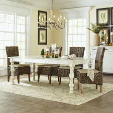 Antique White Dining Room Furniture Furniture White Wooden Rectangle Table With Rattan Chair Using