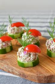 cucumber canapes cucumber tuna salad bites simple seasonal