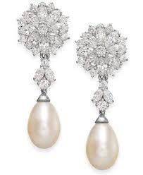 drop earrings silver arabella cultured freshwater pearl and swarovski zirconia drop