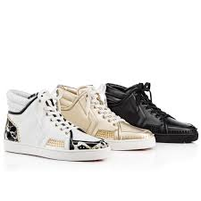 christian louboutin sporty dude low flat leather black white red