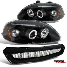 honda civic headlight honda civic 1996 1998 jdm black dual halo projector headlights and