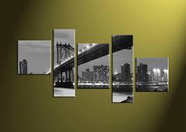 5 piece city grey bridge black and white canvas prints