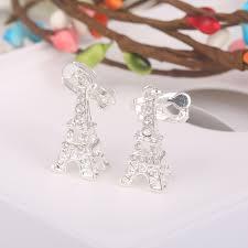 non metal earrings korea style rhinestone eiffel tower shape clip on earrings non