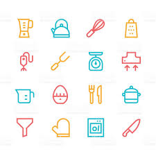 Kitchen Utensils Design by Kitchen Utensils Icons Line Set 1 Color Series Stock Vector Art