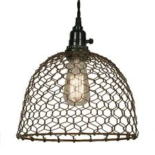 wire pendant light fixtures chicken wire dome pendant light in primitive rust finish ceiling