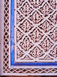 moroccan architecture detail in marrakesh morocco africa stock