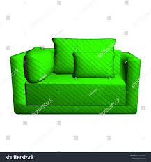 Green Sofa Bed Vector Leather Green Sofa Pillows Isolated Stock Vector 418136080