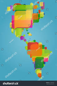 Central America And South America Map by North South Central America Continent World Stock Vector 118384402
