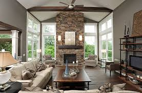 Contemporary Living Room Design With Stone Fireplace Full Version - Living room with fireplace design