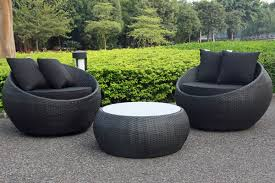 Cocoon Swivel  Piece Outdoor Balcony Setting BlackBlack Small - Black outdoor furniture