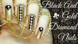 nail art tutorial elegant black and gold crystal nails youtube
