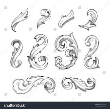 vintage old fashion vector swirl designs stock vector 416967454