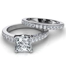 Princess Cut Wedding Ring by Novo Princess Cut Engagement Ring And Wedding Band Bridal Set
