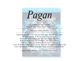 of the name pagan is country dweller