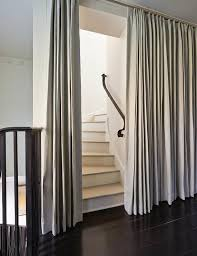 French Pleat Curtain Gray Curtains At Staircase Transitional Entrance Foyer