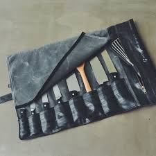 custom chef knife roll made from waxed canvas and reclaimed bike