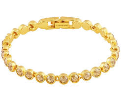 gold plated tennis bracelet images Tennis bracelet golden gold plating jewelry swarovski online jpg