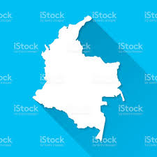 Columbia South America Map by Colombia Map On Blue Background Long Shadow Flat Design Stock