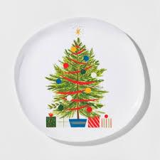 melamine tree dinner plate 10 5 white green threshold