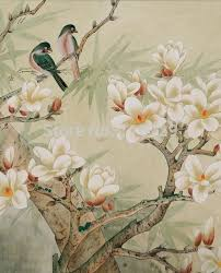 wallpaper with birds customized hand painted silk wallpaper hand painted painting